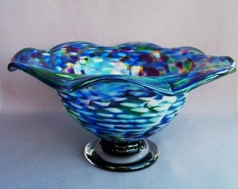 Hand Blown Art Glass Fruit  Bowl on Foot,Multicolored
