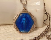 Vintage FRANCE Blue Enamel Mother Mary Holy Water Sterling Necklace Religious Jewelry France Jewelry Sterling Jewelry