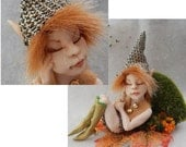 Bronn Sleeping Elf OOAK Fairy Fairies Sculpture Art Doll Figurine Polymer Clay Sculpture Decor Fantasy
