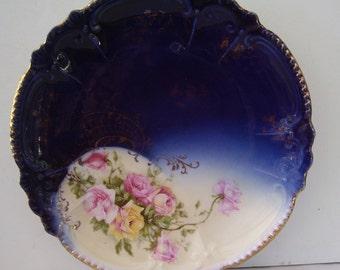 Antique Flow Blue, Royal Bavarian ,PMB Collectors Plate, Germany Cabinet Plate, Flow Blue Collectors Porcelain Plate,