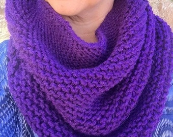 Knitting Pattern Knit Cowl Simple Cowl Scarf Wrap