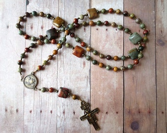 Earth tone Franciscan Crown Rosary of Red Creek Jasper with Bronze Saint Francis Center and San Damiano Cross