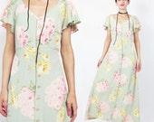 ANNIVERSARY SALE 1990s BETSEY Johnson Dress 90s Grunge Floral Maxi Dress Pale Green Pink Roses Print Dress Button Down Front Dress  Flutter