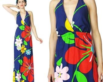 25% off SALE 60s 70s Floral Cotton Halter Dress Large Graphic Floral Print Dress Flower Power Maxi Dress Navy Blue Backless Summer Sun Dress