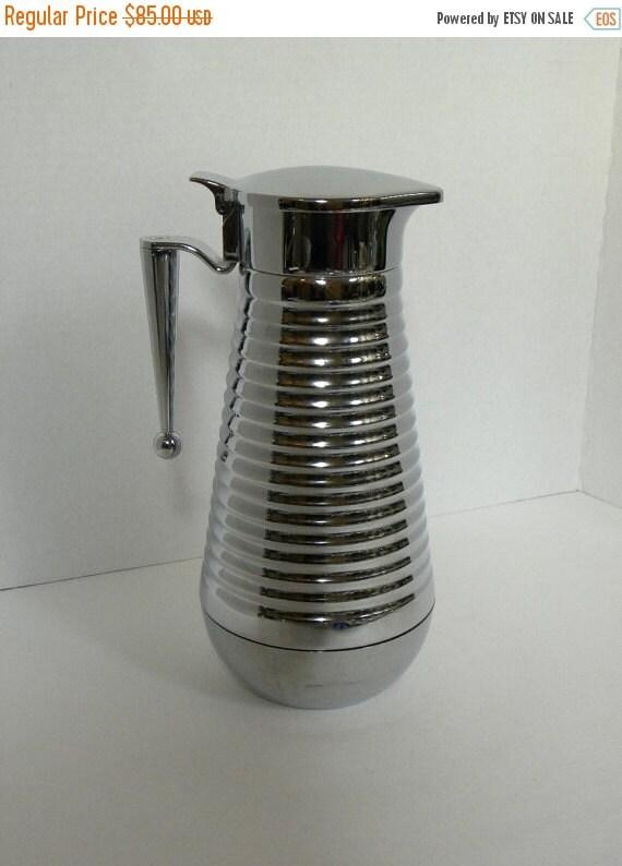 Vintage Art Deco Chrome Thermal Glass lined Beverage Carafe -- 8 Cup 1 Liter Coffee Tea Bar ...