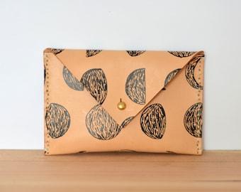 IMMEDIATE SHIP Moon Print Leather Envelope Wallet