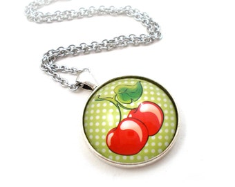 Cherry Pendant, Red and Green, Polka Dot Jewelry, Teen Necklace, Tween Jewelry, Fruit Necklace, Cute Necklace, Teen Gift, Summer Necklace