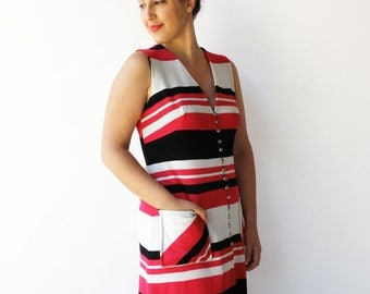 Vintage 1970s Maxi Dress / Striped Dress / Size L