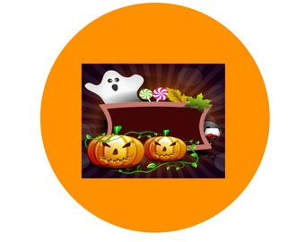 Halloween H1-Digital Immediate Download-Coaster-Jewelry-Background-Gift Tag-Gift Cards-Clipart-Banner.