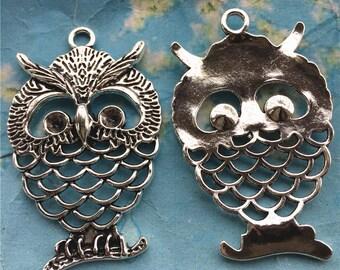 Sale 10pcs 58x37mm antiqued silver  filigree owl pendant findings