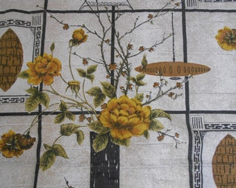still life in yellow, brown and green...large vintage barkcloth curtain