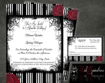 Printable Gothic Wedding Invitations - Roses & Stripes / Red or Purple