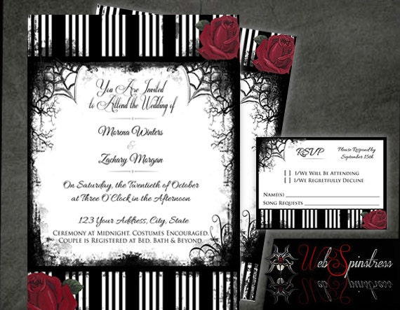 Printable gothic wedding invitations roses stripes red for Free printable gothic wedding invitations