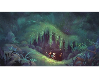Pacific Rainforest Hike | Fine Art Print | Pacific Northwest, Seattle Rainforest, Hiking and Adventure Art | 11x14 | 13x19 | Flimflammery