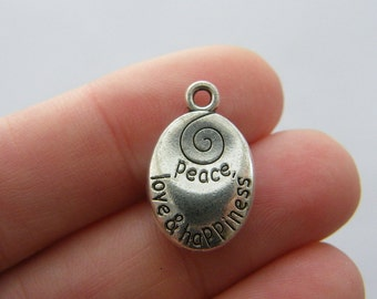 4 Peace love and happiness charms antique silver tone M779