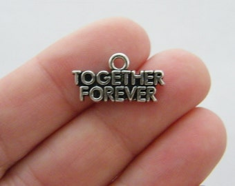 BULK 20 Together Forever charms antique silver tone M524