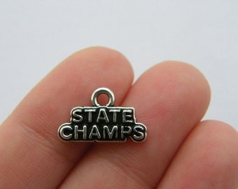 BULK 20 State champs charms antique silver tone SP186