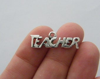 BULK 50 Teacher charms antique silver tone M651