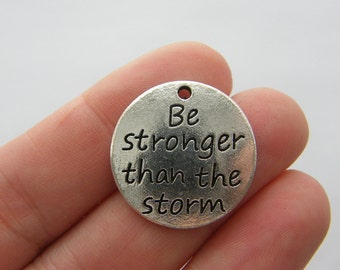 2 Be stronger than the storm charms antique silver tone M96
