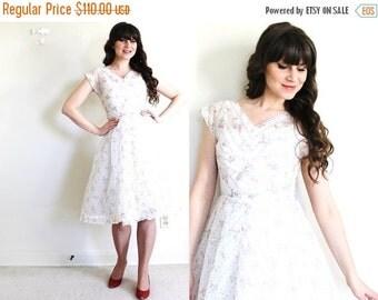 ON SALE 1950s Dress / 50s Dress / 50s Sheer White Wedding Dress