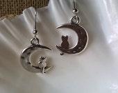 Cat and Moon Earrings,Crescent Moon Earring,Cat Earrings