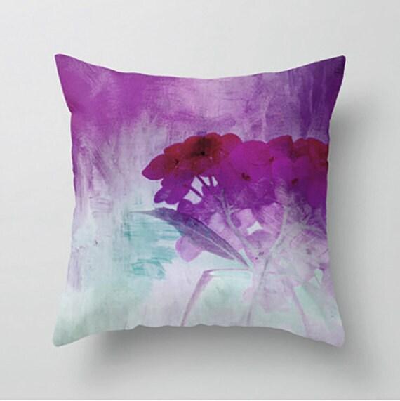 Decorative Pillows Eggplant : WATERCOLOR HYDRANGEAS decorative pillow eggplant red blue