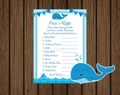Whale Baby Shower Price is Right Game, Whale Price is Right, Baby Shower Games, Baby Boy Nautical, Instant Download