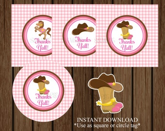 Cowgirl Baby Shower Favor Tag, Cowgirl Baby Shower, Lil' Cowgirl, Baby Girl Baby Shower, Instant Download