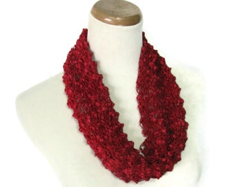 Sale Cranberry Scarf, Knit Cowl, Hand Knit Scarf, Gift For Her, Circle Scarf, Red Scarf, Loop Scarf, Neckwarmer