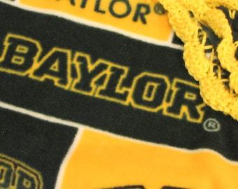 Baylor University Texas BU Bears College Fleece Baby Blanket With Crochet Ruffle - Baby/Toddler Girl or Boy - Green & Gold - Wrap-Around