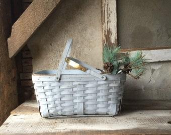 Woven Picnic Basket, vintage basket, storage organization pale blue shabby chic home decor