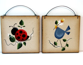 LadyBug or Blue Bird with Daisies Sign, Handpainted Wood, Hand Painted Home Decor, Wall Art, Tole Decorative Painting