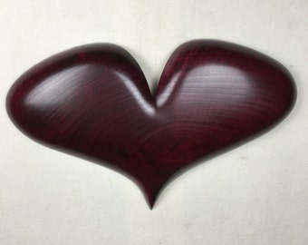 Best ever personalized red romantic Anniversary present wooden heart handmade woodworking gift by Gary Burns the treewiz