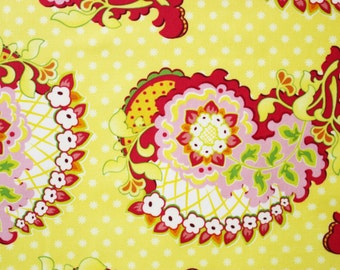 Paisley Fabric by Heather Bailey, Bright Yellow Fabric, Yellow and Red Fabric