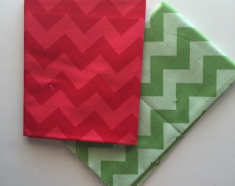 SALE.. ONLY ONE Medium Tone on Tone Chevron Holiday 1/2 yard bundle, from Riley Blake designs, 2 fabrics total