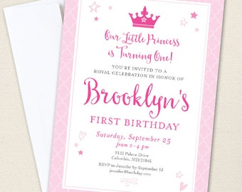 Princess Party Invitations - Professionally printed *or* DIY printable