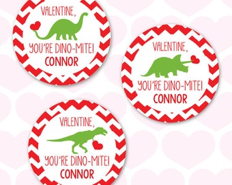 Valentine's Day Stickers - Dinosaurs - Sheet of 12 or 24