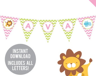 INSTANT DOWNLOAD Pink Safari Party - DIY printable pennant banner - Includes all letters, plus ages 1-18