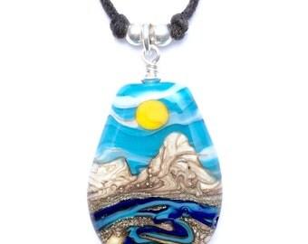 Necklace: Handmade Lampwork Desert Sun Mountain River Landscape Focal Bead on Cotton w .925 Sterling Silver Findings