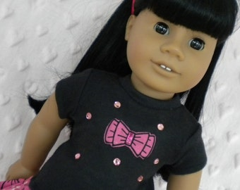 """Fun with bows skirt and top for 18"""" dolls like American Girl"""