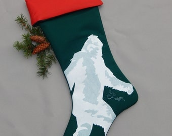 """YETI CHRISTMAS STOCKING 24"""" indoor-outdoor abominable snowman cousin of Sasquatch Bigfoot hand painted cryptozoology Crabby Chris™ Original"""