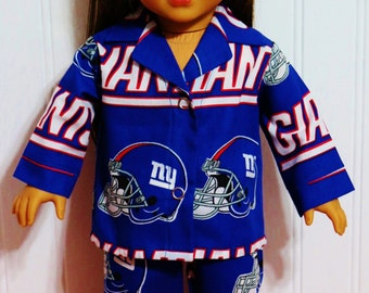 FOOTBALL New York Giants Cotton Pajamas fit 18inch Dolls - Proudly Made in America