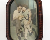 Vintage Tiger Wood Picture Frame with Bubble Glass and Photo of Siblings