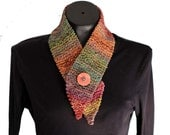 Cotton Neckwarmer / Button Scarflette / Autumn Colors Rust Green Orange Ombre Scarf /