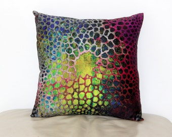 "Throw Pillow Cover from My Original Fabric Art  ""Under the Sea""  15"" x 15"""