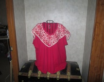 Cij sale 5 XL PLUS SIZE Tee  Pretty Red And Cream Scarf sewn All around the neck Wearable art bo ho tee