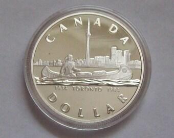 1984 Toronto Silver Dollar Sesquicentennial Canadian Dollar Coin