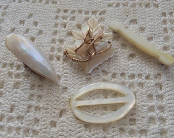 Vintage Mother of Pearl 4 Pc. Clip, Brooch, Buckle, & Bar