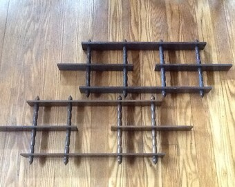 Two Wooden Spindle Shelves Vintage 3 Tier Wall Decor