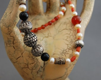 Camilla - Hand Made pearl and gemstone necklace, silver, onyx, carnelian, vintage coral, Bali silver necklace, gift idea, for her, fashion